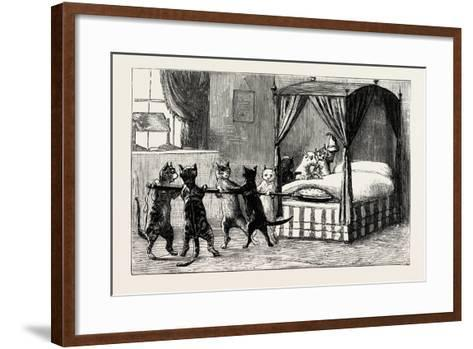 The Dame Was Unabe Her Pleasure to Smother. Cats Heating the Bed, 1890--Framed Art Print