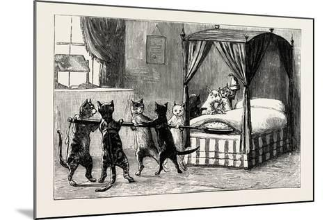 The Dame Was Unabe Her Pleasure to Smother. Cats Heating the Bed, 1890--Mounted Giclee Print