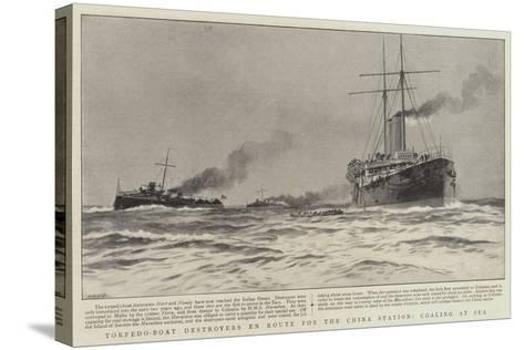 Torpedo-Boat Destroyers En Route for the China Station, Coaling at Sea--Stretched Canvas Print