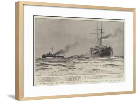 Torpedo-Boat Destroyers En Route for the China Station, Coaling at Sea--Framed Art Print