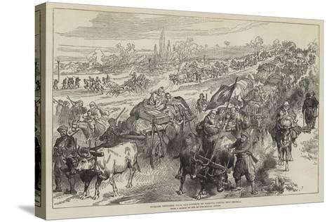 Turkish Refugees from the District of Tirnova Coming into Shumla--Stretched Canvas Print
