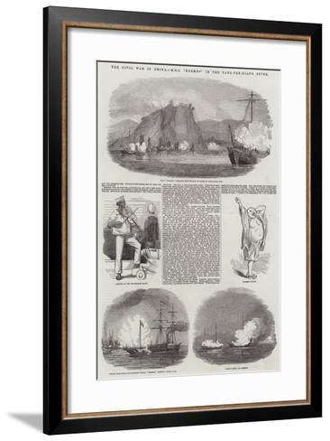 The Civil War in China, HMS Hermes in the Yang-Tze-Kiang River--Framed Art Print