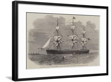 The Great Tasmania Troop-Transport an Anchor in the Mersey--Framed Art Print
