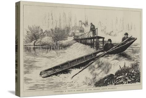 Shooting a Weir, a Sketch on the Thames Above Richmond--Stretched Canvas Print
