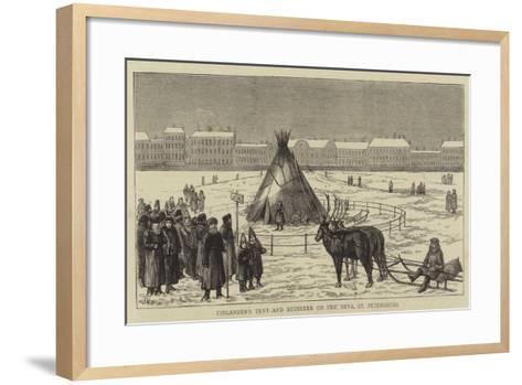 Finlander's Tent and Reindeer on the Neva, St Petersburg--Framed Art Print