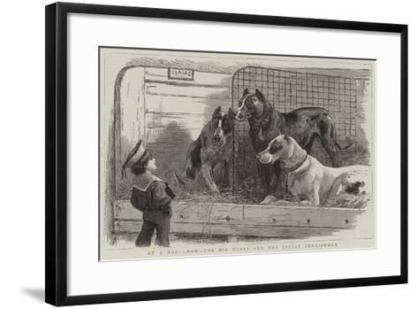 At a Dog Show, the Big Danes and the Little Englishman--Framed Art Print
