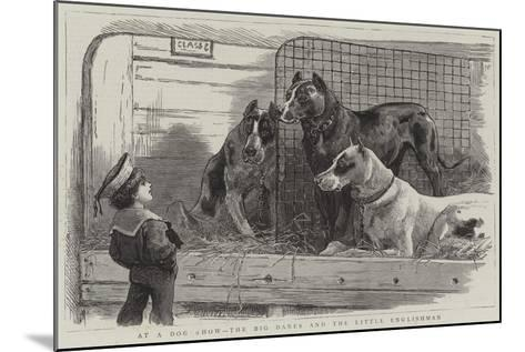 At a Dog Show, the Big Danes and the Little Englishman--Mounted Giclee Print