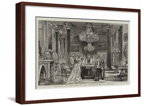 Signing the Register in the Drawing-Room at Osborne--Framed Art Print