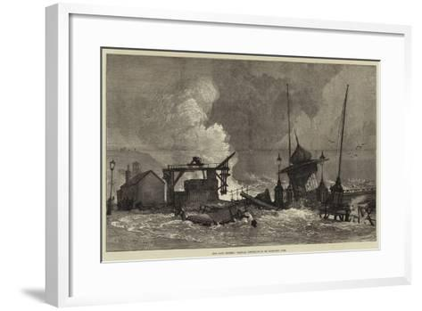 The Late Storms, Partial Destruction of Hastings Pier--Framed Art Print