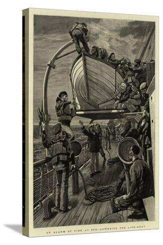 An Alarm of Fire at Sea, Lowering the Life-Boat--Stretched Canvas Print