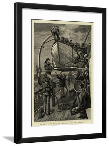 An Alarm of Fire at Sea, Lowering the Life-Boat--Framed Art Print