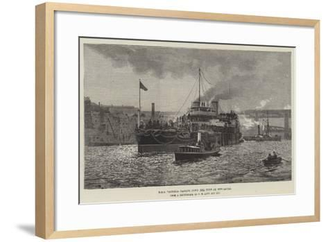 HMS Victoria Passing Down the Tyne at Newcastle--Framed Art Print