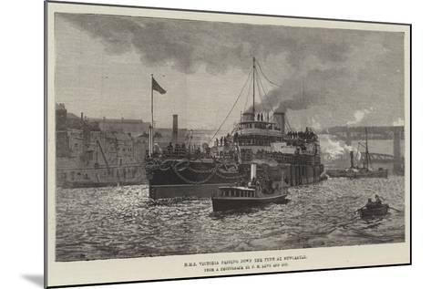 HMS Victoria Passing Down the Tyne at Newcastle--Mounted Giclee Print