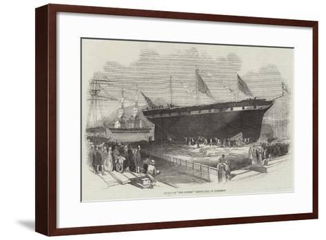 Launch of The Contest Clipper-Ship, at Androssan--Framed Art Print
