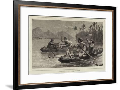 A Race to the Market, Tahiti, Society Islands--Framed Art Print