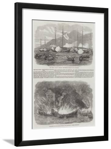 The War in China, Destruction of Piratical Junks--Framed Art Print