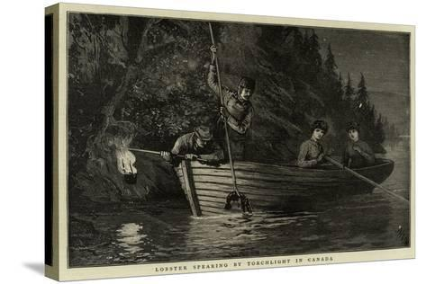 Lobster Spearing by Torchlight in Canada--Stretched Canvas Print