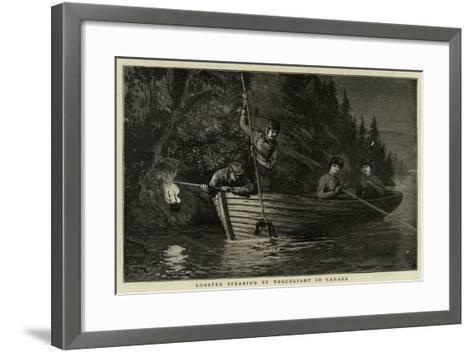 Lobster Spearing by Torchlight in Canada--Framed Art Print