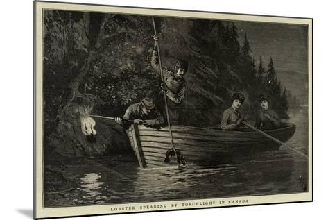 Lobster Spearing by Torchlight in Canada--Mounted Giclee Print