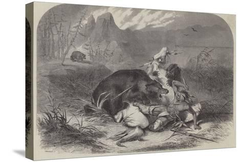 A Pawnee Indian Attacked by Grizzly Bears--Stretched Canvas Print