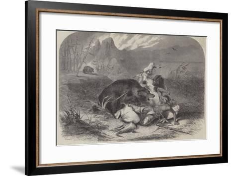 A Pawnee Indian Attacked by Grizzly Bears--Framed Art Print