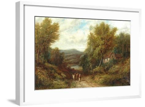 A Woman Driving Cattle Down a Lane--Framed Art Print