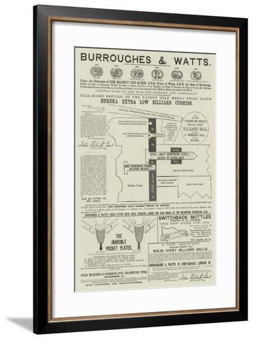 Advertisement, Burroughes and Watts--Framed Art Print