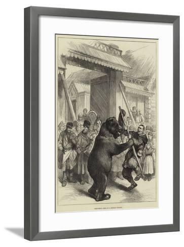 Performing Bear in a Russian Village--Framed Art Print