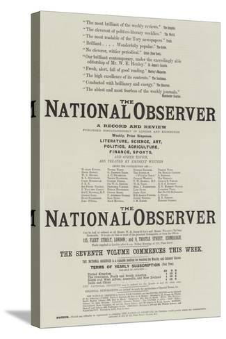 Advertisement, the National Observer--Stretched Canvas Print