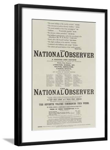 Advertisement, the National Observer--Framed Art Print