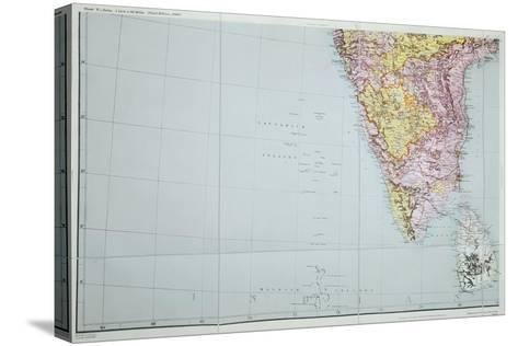 Map of Southern India, 1898--Stretched Canvas Print