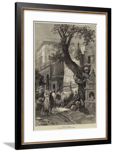Street in Benares--Framed Art Print