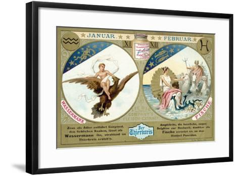 January and February: Aquarius and Pisces--Framed Art Print