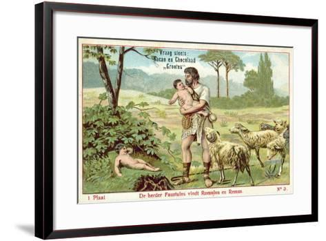 The Shepherd Faustulus Finds Romulus and Remus--Framed Art Print