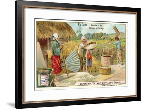 Winnowing and Threshing Harvested Rice, Korea--Framed Art Print