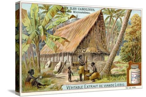 Micronesian Long House, Caroline Islands--Stretched Canvas Print