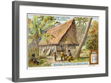 Micronesian Long House, Caroline Islands--Framed Art Print