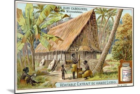 Micronesian Long House, Caroline Islands--Mounted Giclee Print