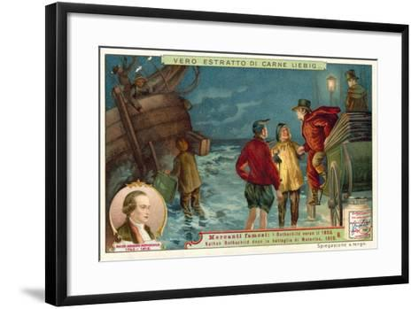 British Banker Nathan Rothschild after the Battle of Waterloo, 1815--Framed Art Print
