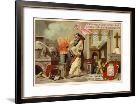 Discovery of Gunpowder by the Monk Berthold Schwarz, 1318--Framed Art Print