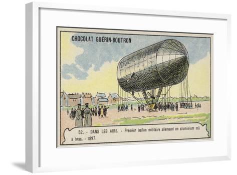 First German Hand-Powered Aluminium Military Balloon, 1897--Framed Art Print