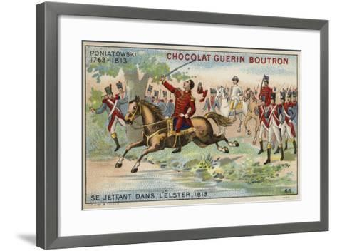 Marshal Poniatowski Throwing Himself into the River Elster, 1813--Framed Art Print