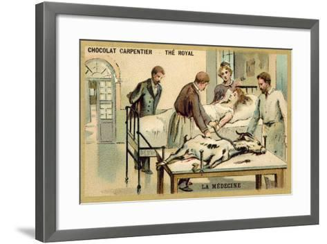 A Woman Receiving a Blood Transfusion from a Goat--Framed Art Print