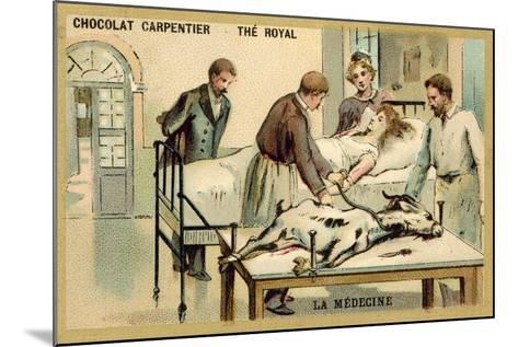 A Woman Receiving a Blood Transfusion from a Goat--Mounted Giclee Print
