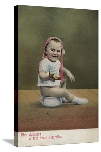 Child Sitting on Potty--Stretched Canvas Print