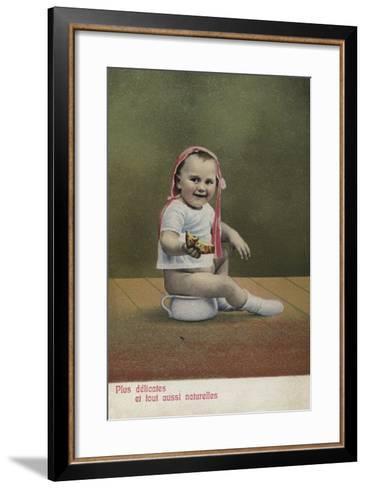Child Sitting on Potty--Framed Art Print