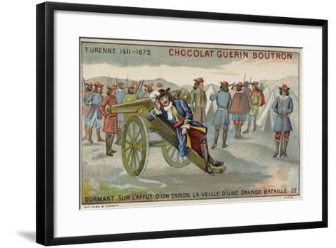 Marshal Turenne Sleeping on a Cannon before a Battle--Framed Art Print
