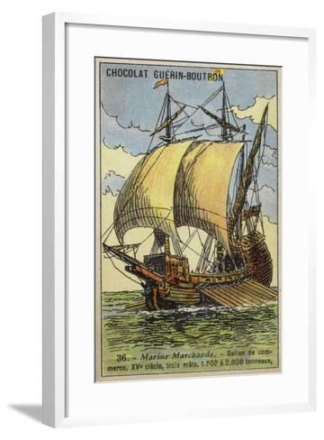 Three-Masted Trading Galleon, 15th Century--Framed Art Print