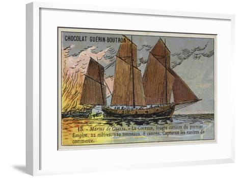 French Corsair Lugger Coureur, First Empire, Early 19th Century--Framed Art Print