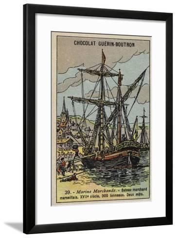 Two-Masted Merchant Ship of Marseilles, 17th Century--Framed Art Print